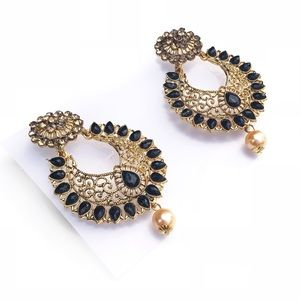 Pearl studded Bollywood earrings with black detail